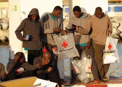 Un grupo de inmigrantes, en Ceuta.