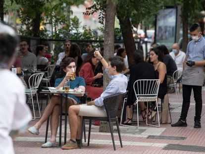 Terrazas en la calle de Santa Engracia, en Madrid, a mediados de agosto.