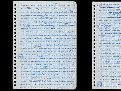 Hojas del borrador escrito por Delibes para el discurso del Premio Cervantes. / FUNDACIÓN MIGUEL DELIBES