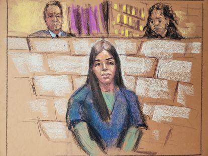 Emma Coronel, esposa de Joaquín 'El Chapo' Guzmán, durante la audiencia de su juicio en Washington, el pasado febrero.
