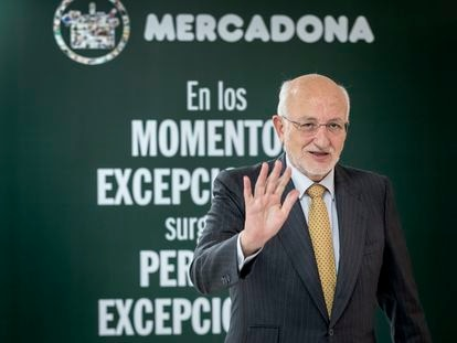 El presidente de Mercadona, Juan Roig, este martes, tras la presentación de los resultados de la empresa.