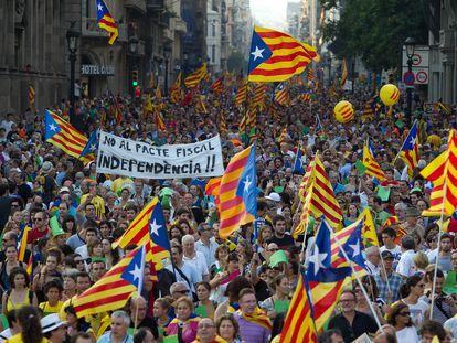 Manifestación de la Diada de 2011 en Barcelona, en una imagen de archivo