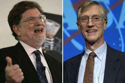 George Smoot (izquierda), en California, y John Mather, en Washington, tras la concesión del Nobel de Física.