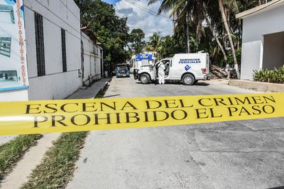 Una escena del crimen delimitada, en Quintana Roo.