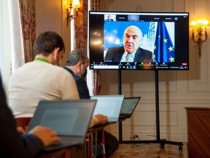 Luis de Guindos, vicepresidente del BCE, en su conferencia a distancia en la Universidad Menéndez Pelayo de Santander.