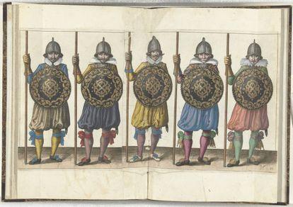 'Prácticas con escudo y lanza' (1618), de Adam van Breen.