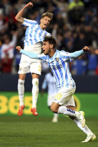Horta celebra el tercer gol del Málaga al Getafe