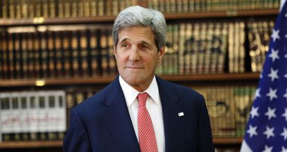 El secretario de Estado de EE UU, John Kerry, el miércoles en Bagdad.