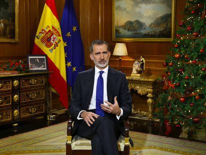 El Rey Felipe VI da su discurso de Nochebuena en el Palacio de la Zarzuela, en Madrid (España) a 24 de diciembre de 2020. 24 DICIEMBRE 2020;REY FELIPE VI Pool 24/12/2020