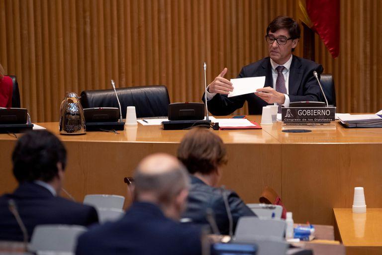 El ministro de Sanidad, Salvador Illa, durante su presentación en el Congreso este jueves.