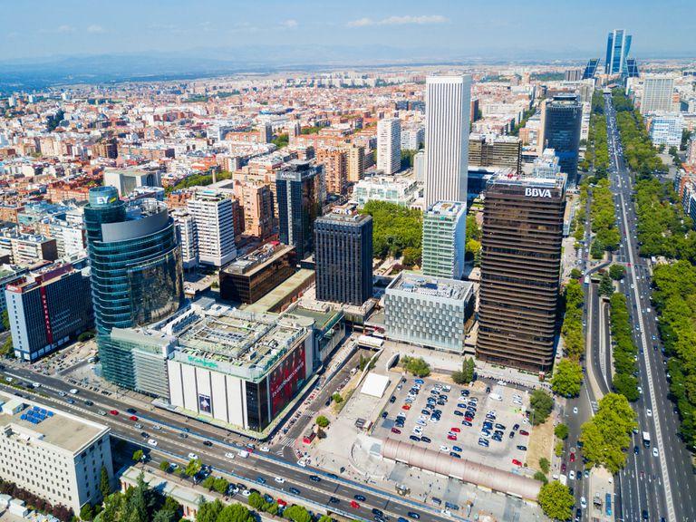 Vista general del distrito financiero de Azca en Madrid.
