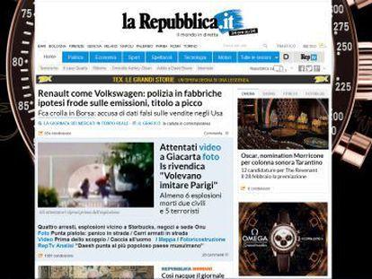 Portada del diario 'La Repubblica' este jueves.