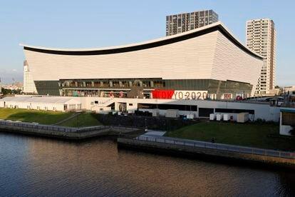 Vista lateral del Ariake Arena durante los Juegos Olímpicos de Tokio 2020.