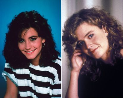 Courtney Cox y Elisabeth Shue en 1985 y 1988.
