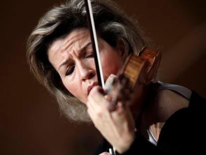La violionista Anne-Sophie Mutter durante un concierto en Baden.