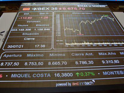 Información bursátil al cierre de la sesión del pasado viernes en Madrid.