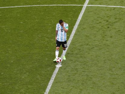 Messi durante el partido entre Argentina y Francia.