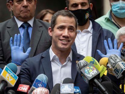 Juan Guaidó, en rueda de prensa en Caracas.
