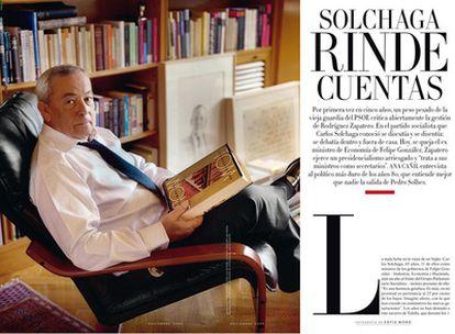 Página de la revista Vanity Fair, con la entrevista del ex ministro de Economía, Carlos Solchaga.