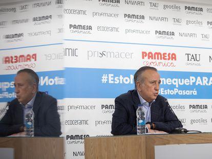 El presidente de Pamesa, Fernando Roig, durante la rueda de prensa en la que ha explicado las pruebas y los protocolos de trabajo y seguridad por el  covid 19 que se aplican en el grupo en la vuelta a la actividad.