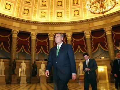 John Boehner, durante las últimas negociaciones en el Capitolio.