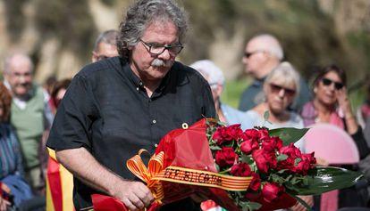 Joan Tardà, ayer, en el homenaje a Lluís Companys en Montjuïc.