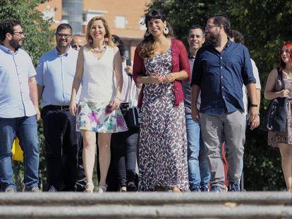 Teresa Rodríguez (centro), en la presentación de su candidatura a las primarias el pasado martes.