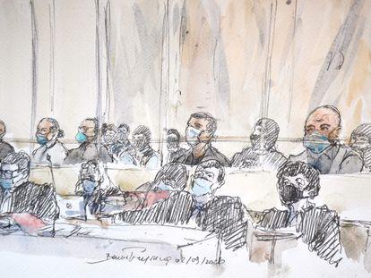 Ilustración de varios de los 14 acusados y sus abogados por los atentados en París en enero de 2015