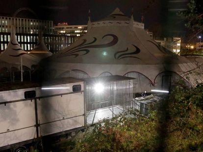 Vista de la jaula de la que ha huido el tigre abatido este viernes en París.