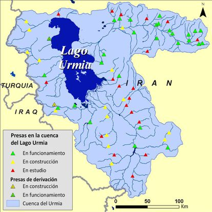 Fuente: Hassanzadeh, E., Zarghami, M., Hassanzadeh, Y. (2011). Determining the Main Factors in Declining the Urmia Lake Level by Using System Dynamics Modeling. Water Resources Management, 26(1), 129-145. doi: 10.1007/s11269-011-9909-8. visualización por UNEP GRID Sioux Falls.
