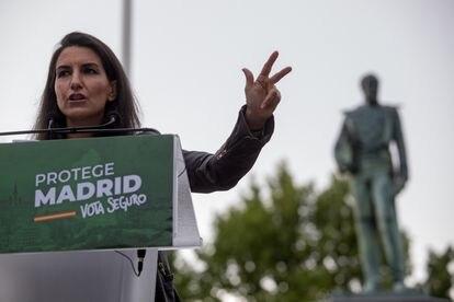 La candidata de Vox a la presidencia de la Comunidad de Madrid, Rocío Monasterio, durante un acto electoral el 28 de abril, en Valdemoro.