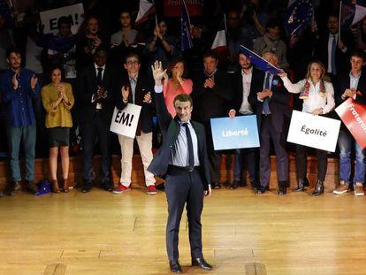 Emmanuel Macron, durante el mitín en Londres de este miércoles.