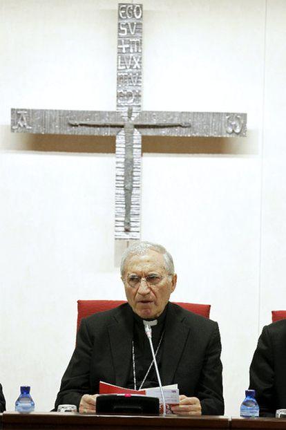 El presidente de la Conferencia Episcopal, cardenal Antonio María Rouco Varela, durante la inauguración de la XCVI Asamblea Plenaria de los obispos españoles.