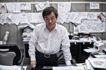 Zhang Yue, presidente de BSB, posa en su despacho.