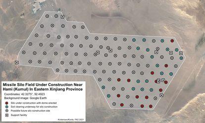Imagen de la red de silos para misiles en la zona de Hami, en la región de Xinjiang. Fuente: Federación de Científicos Americanos (FAS)