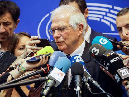 Josep Borrell durante la comparecencia ante los medios en Bruselas el pasado miércoles.
