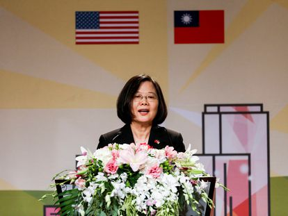 La presidenta taiwanesa, Tsai Ing-Wen, participa en un evento en Los Angeles