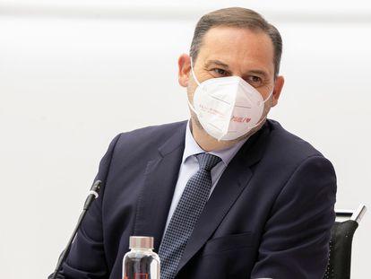 José Luis Ábalos, este lunes, durante la reunión semipresencial de la ejecutiva federal del Partido Socialista en la sede de Ferraz, en Madrid.