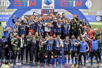 The Inter Milan players celebrate the 'scudetto' achieved this season.