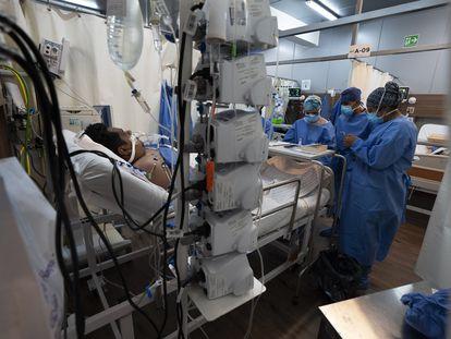Un paciente de covid-19 ingresado en un hospital de Ciudad de México esta semana.