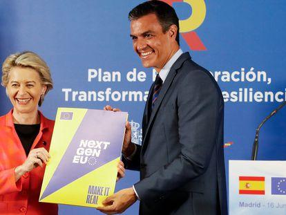 Ursula von der Leyen y Pedro Sánchez en la rueda de prensa posterior al encuentro el miércoles en Madrid.