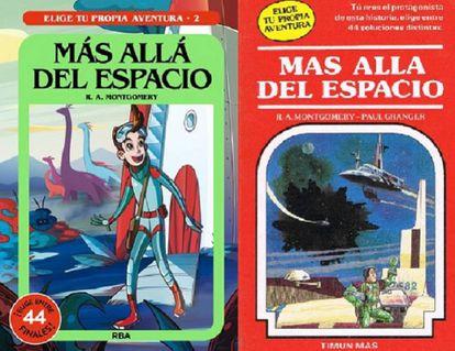 A la izquierda, la portada de 2020 de una de las historias de 'Elige tu propia aventura'. A la derecha, la portada de 1984.