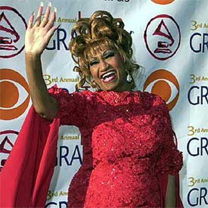 Celia Cruz, en la tercera edición de los <i>grammy</i> latinos en septiembre de 2002.