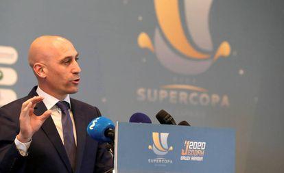 Luis Rubiales, en la presentación de la Supercopa en Arabia Saudí.