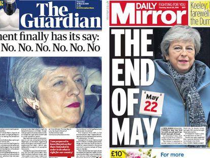 Portadas de los diarios 'The Guardian' y 'Daily Mirror' de este jueves.