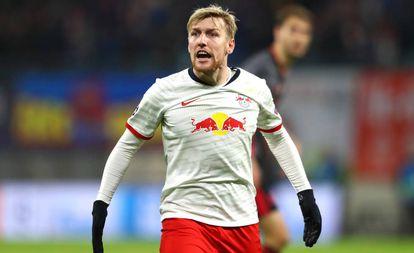 Forsberg, durante un partido con el Leipzig alemán.