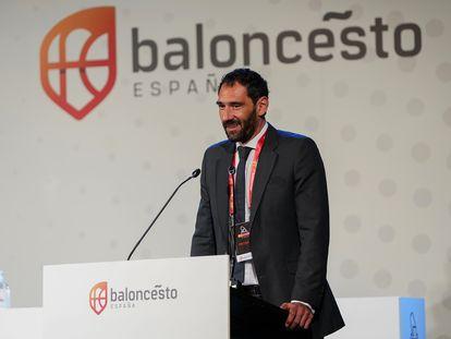 Jorge Garbajosa, tras ser reelegido presidente de la FEB.