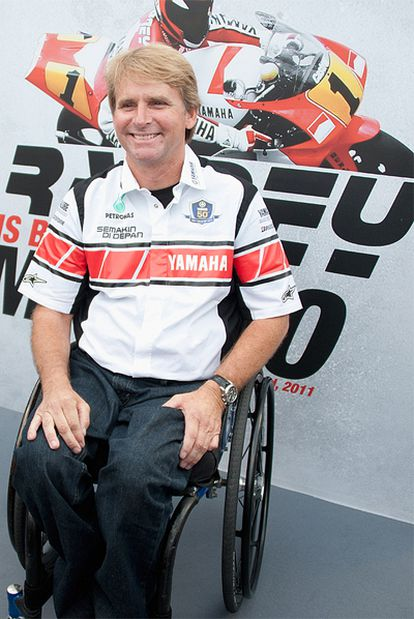 Wayne Rainey, ayer en el circuito de Misano.