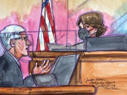 Ilustración del CEO de Apple, Tim Cook, a la juez Yvonne Gonzalez Rogers durante su testimonio el pasado 21 de mayo.