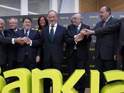 Consejeros de Bankia, encabezados por Rodrigo Rato.
